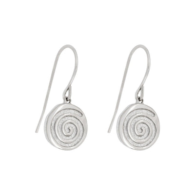 small drop earrings in silver with celtic spiral meaning energy