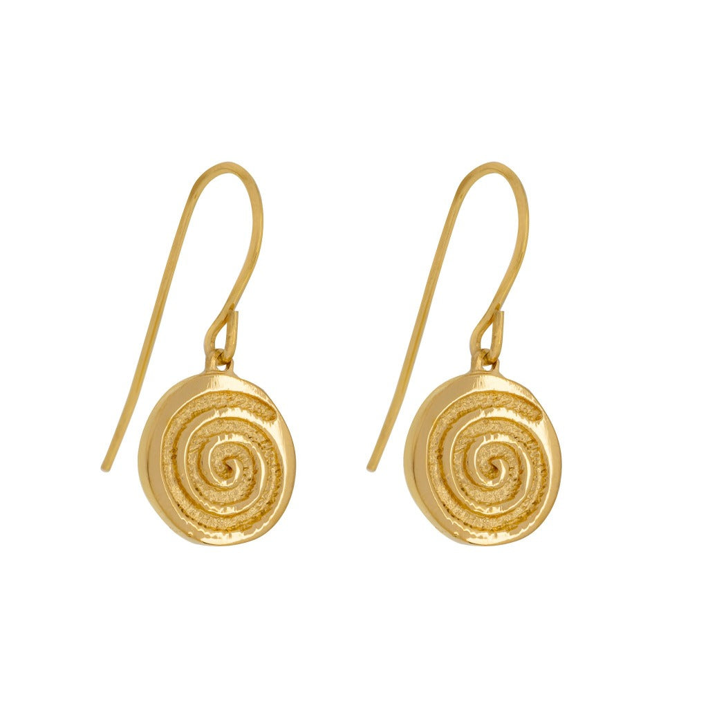 gold simple drop earrings with celtic spiral symbol for energy from native my liwu jewellery