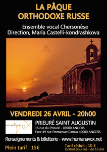 Concert 26 avril - La Pâque orthodoxe