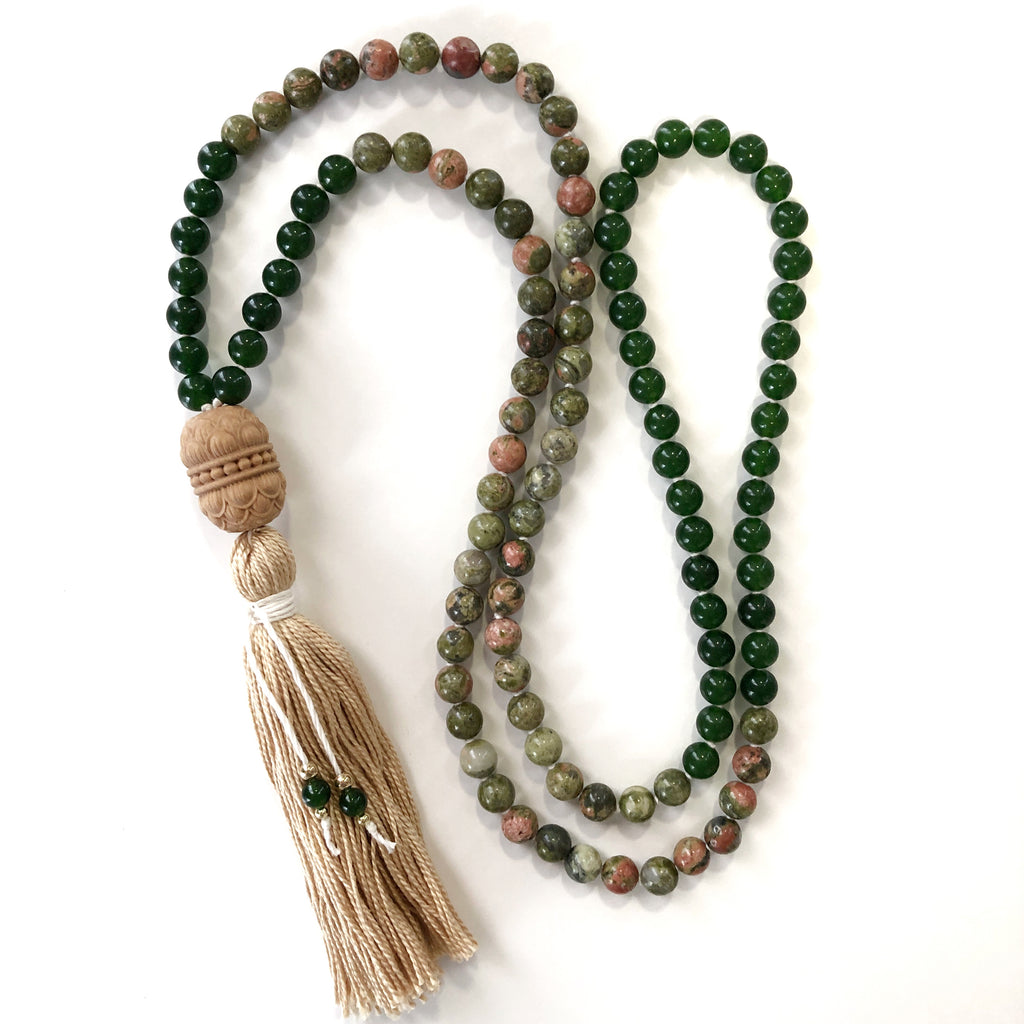 Lady Luck - Unakite and Jade Mala