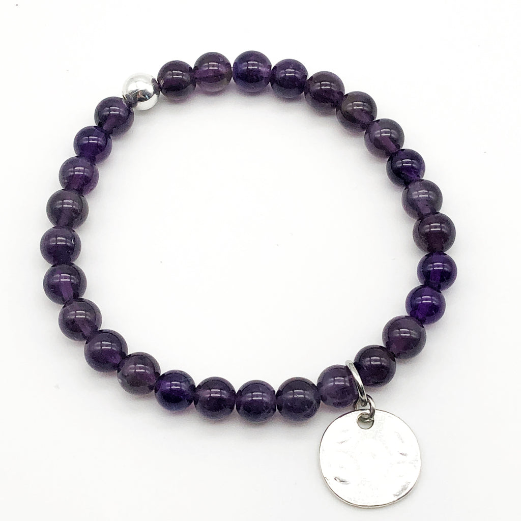 Amethyst Coin Stretch Bracelet