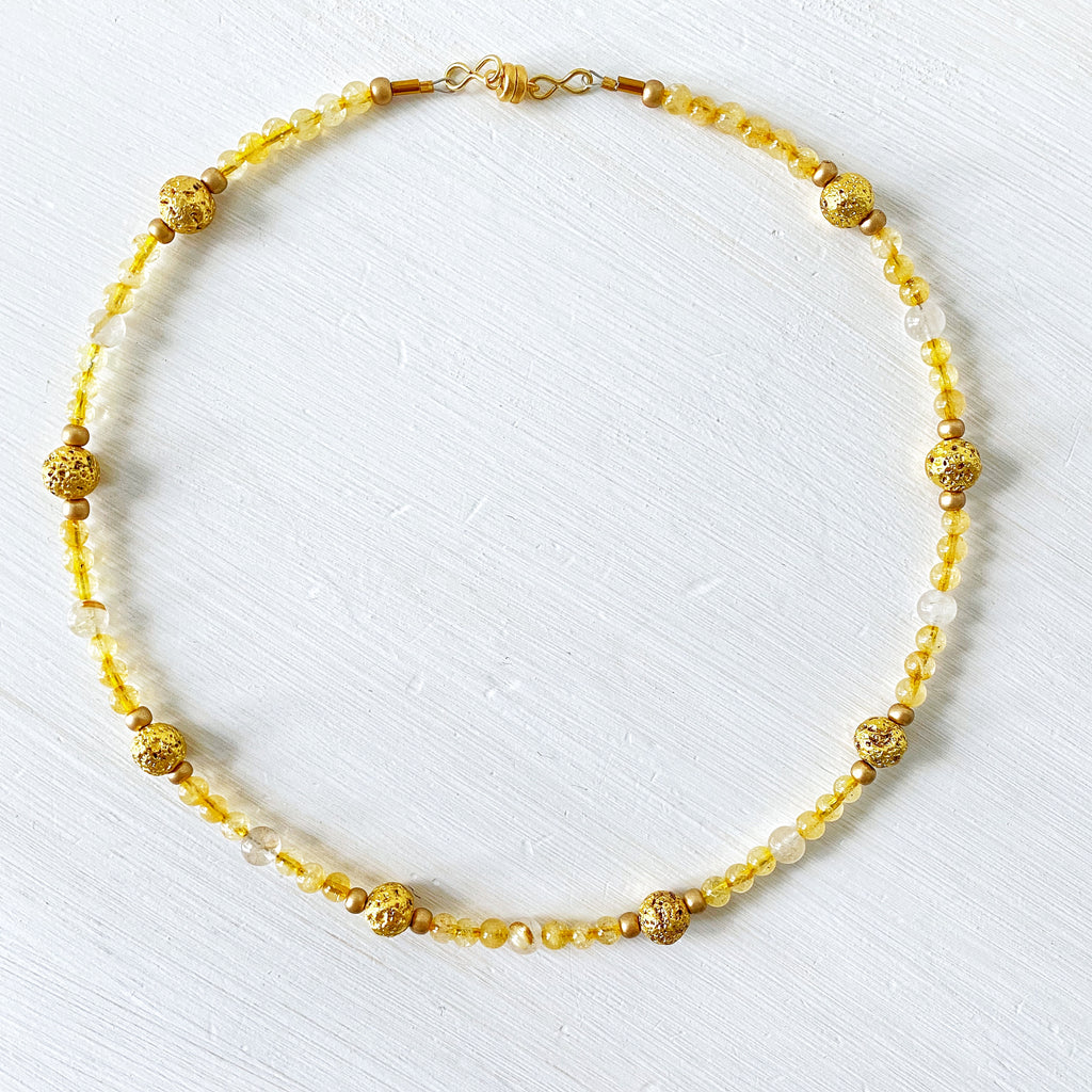 Golden Lavastone and Citrine Necklace