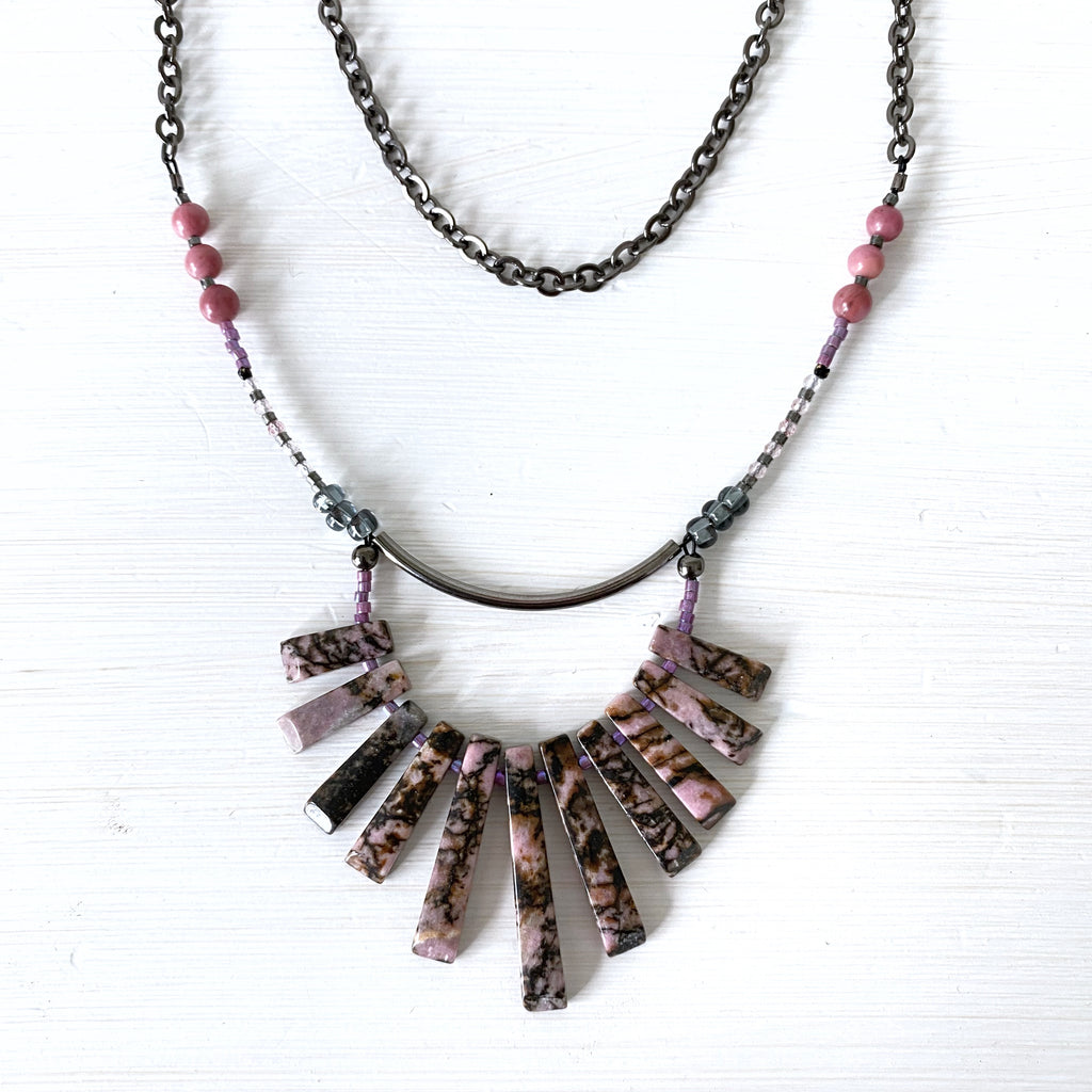 Rhodonite Chain Necklace