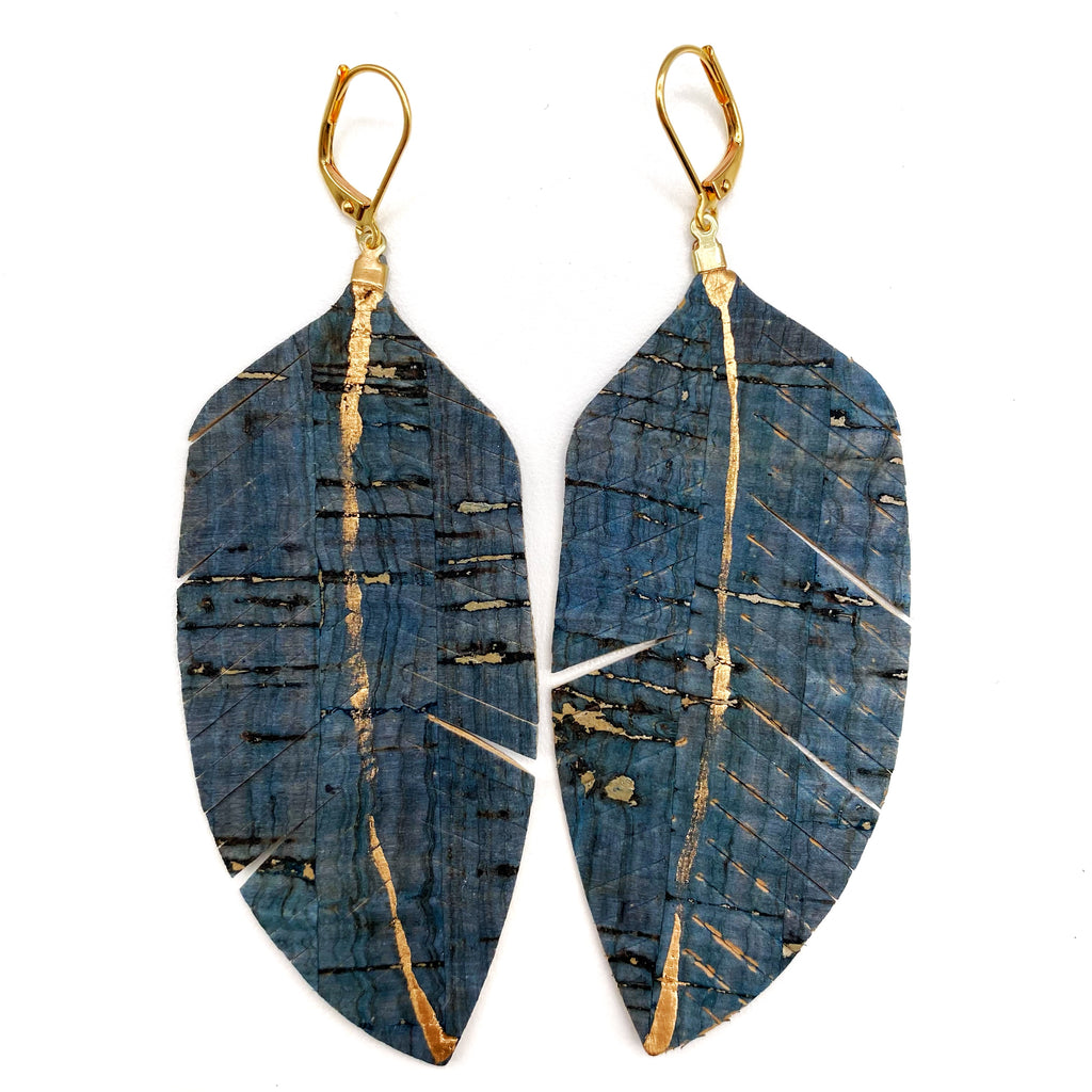 Blue Cork Feather Earrings