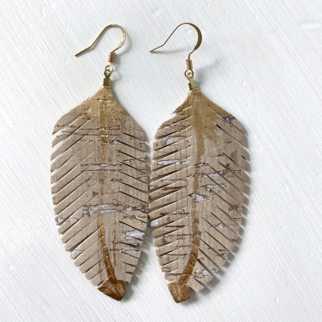 Natural Cork Feather Earrings