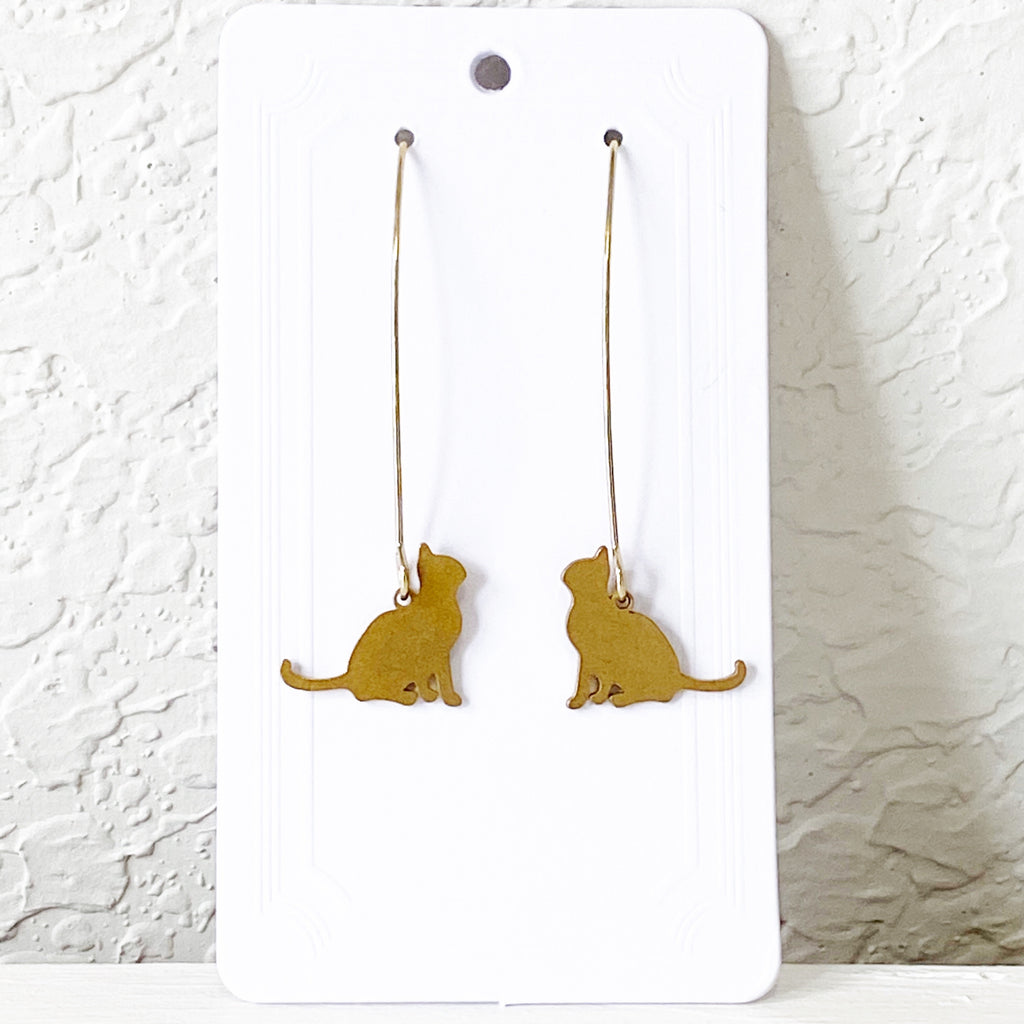 Brass Cat Earrings