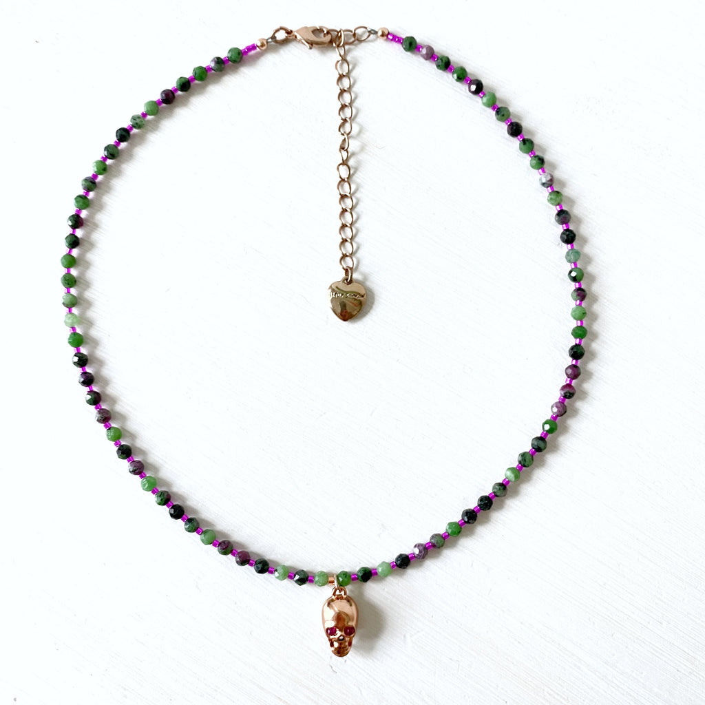Ruby Skull and Zoisite Necklace