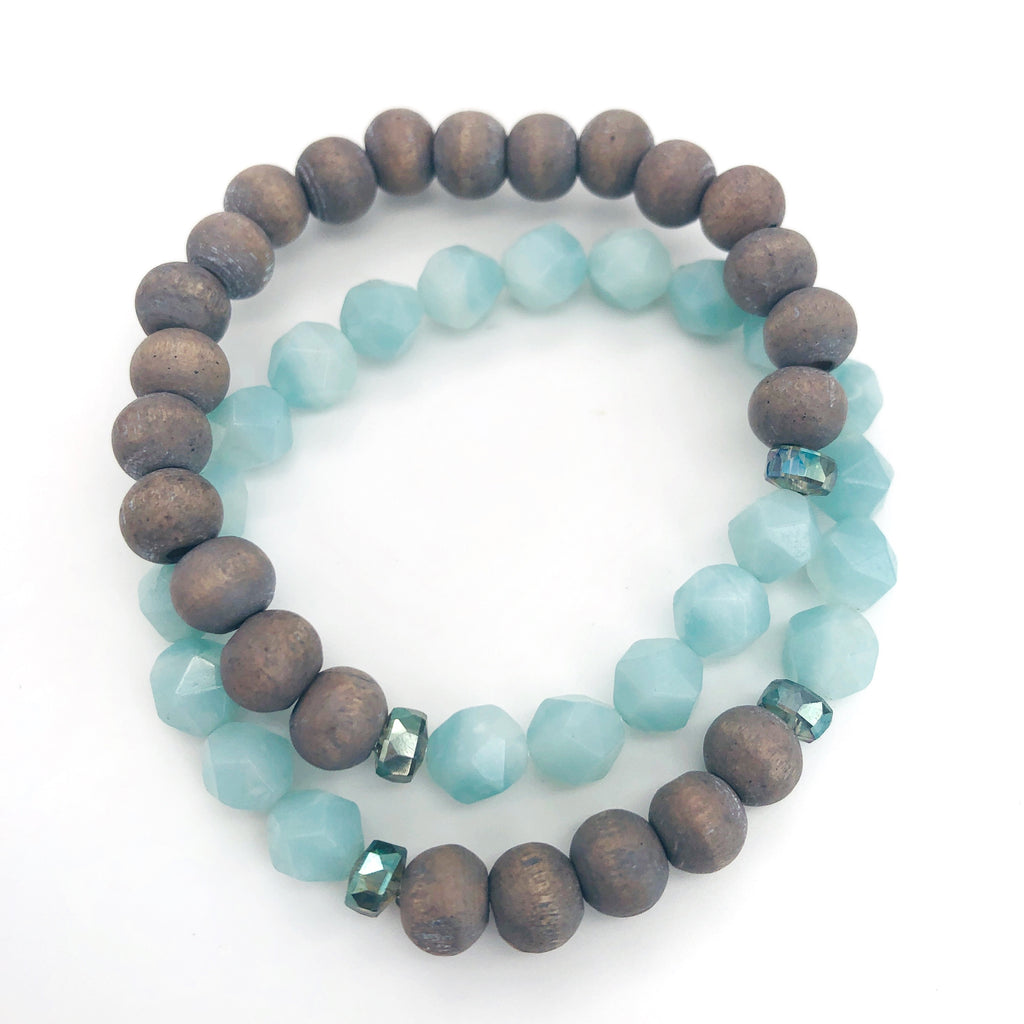 Star-cut Amazonite Bracelet Duo