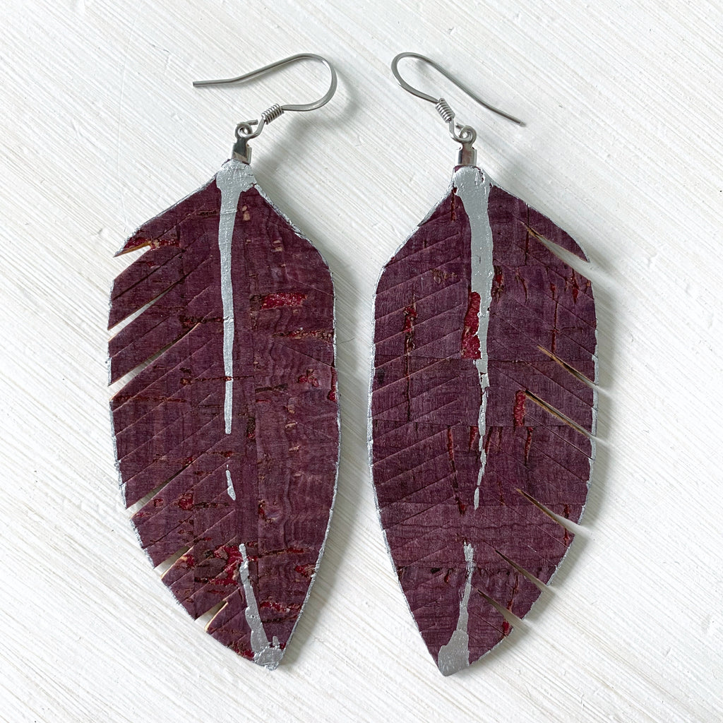Burgundy Cork Feather Earrings