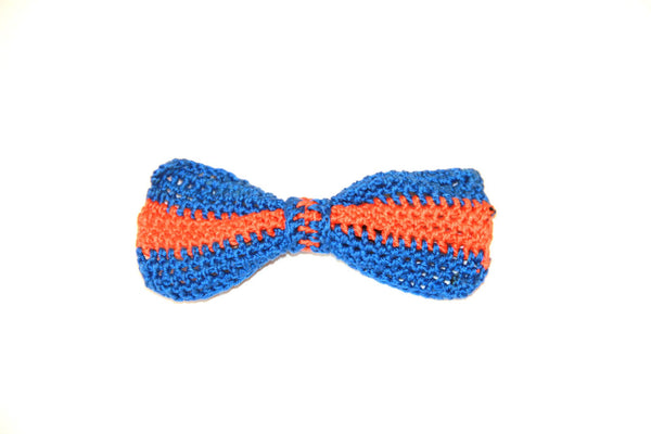 Bow Tie - Crocheted - Blue/Orange