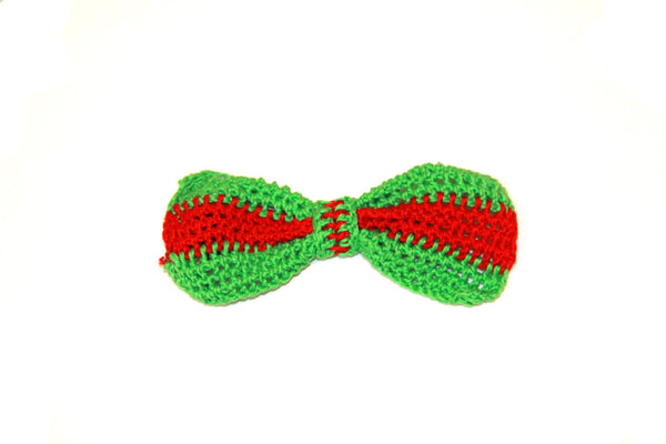 Bow Tie - Crocheted - Green/Red