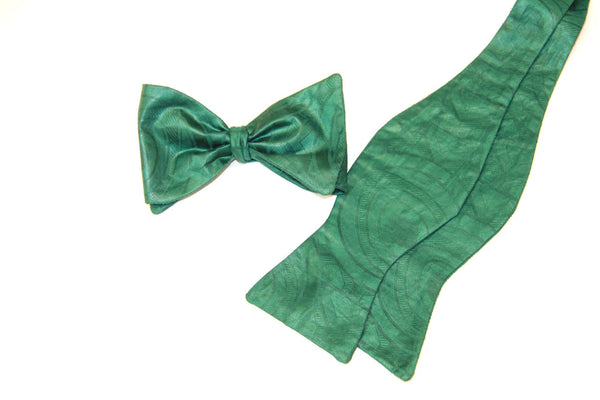 green self-tie bow ties