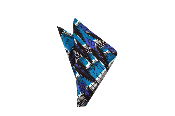 Pocket Square - African Pattern - Blue Bait
