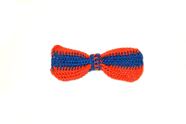 Bow Tie - Crocheted - Orange/Blue