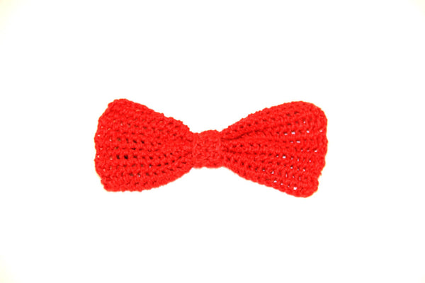 Bow Tie - Crocheted - Red