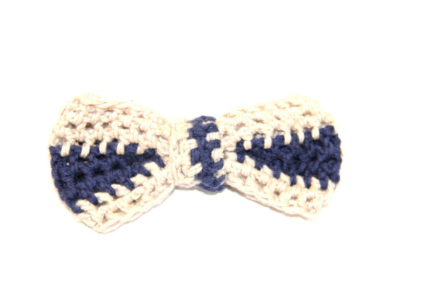Bow Tie - Crocheted - White/Blue