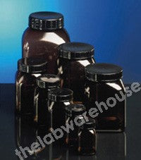 BOTTLES SQUARE EXTRA-W/M AMBER PVC BLACK PP CAP 500ML