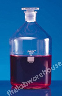 REAGENT BOTTLE PYREX N/MOUTH WITH GLASS STOPPER 2L