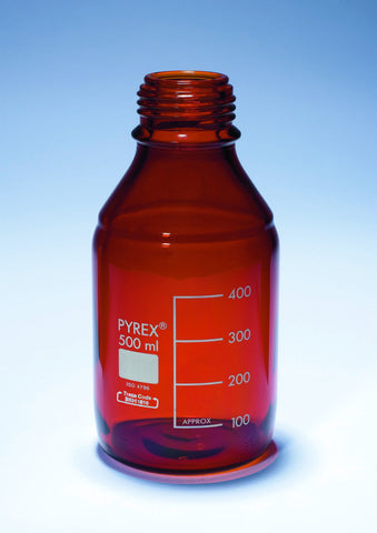 REAGENT BOTTLE AMBER PYREX W/MOUTH NO CAP OR RING 250ML