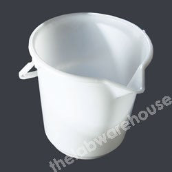 BUCKET WHITE PE WITH HANDLE 10.5L X 0.5L GRADUATIONS
