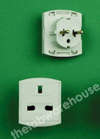 ADAPTER PLUG 2 ROUND PIN SCHUKO PLUG TO UK 13A 3-PIN SOCKET