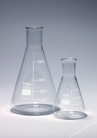 ERLENMEYER FLASK PYREX GLASS N/NECK GRADUATED 500ML