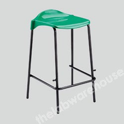 LAB STOOL GREEN PP SEAT WITH FOOTREST STEEL FRAME 610MM HIGH