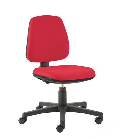 UPHOLSTERED LAB CHAIR ADJ. 420 TO 550MM RED/CASTORS