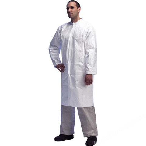 LAB. COAT TYVEK WHITE ZIP FRONT 2 POCKETS MED PK.10
