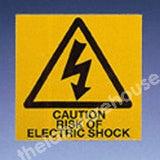 WARNING LABELS RISK OF ELECTRIC SHOCK. 50X50MM ROLL OF 330
