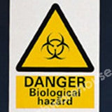 WARNING SIGN DANGER BIOLOGICAL HAZARD 200X150MM
