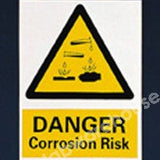 WARNING SIGN DANGER CORROSION RISK 400X300MM