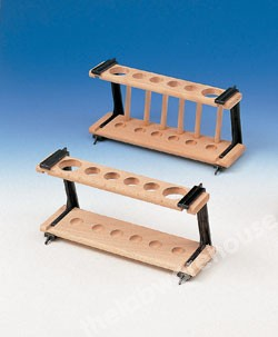 HARDWOOD TEST TUBE STAND PP ENDS 6 HOLES/6 PEGS