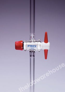 PYREX DIN STOPCOCK SST106 STR SINGLE BORE 6X12MM PTFE KEY