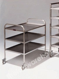 TRAY TROLLEY S/S 4 TIERS/TRAYS EA. 875X465MM 1100MM HIGH