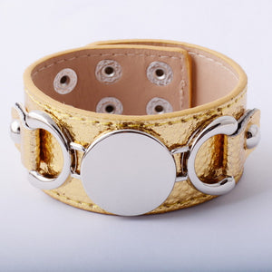 Rainbery Silver Leather Women's Cuff