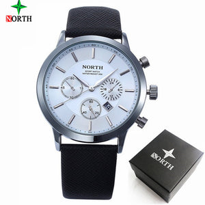 NORTH Luxury Quartz Men's Watch with Leather Strap