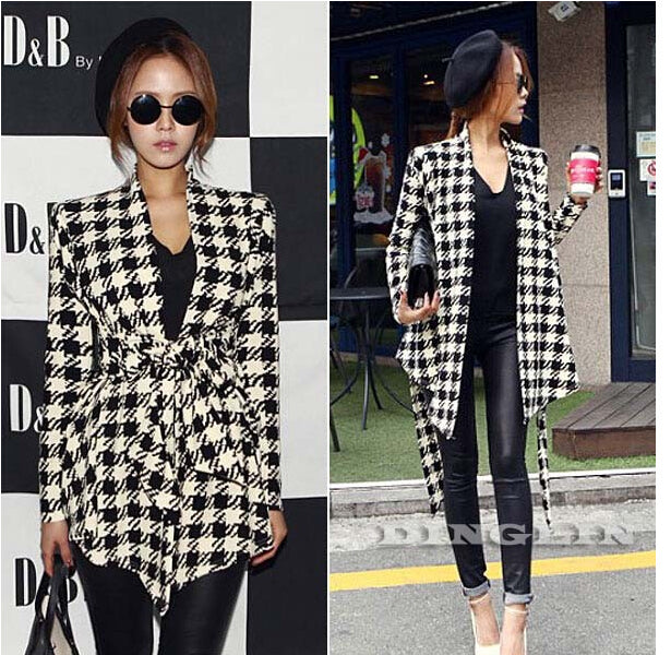 Hound-tooth Print Casual Slim Belt Cardigan Coat