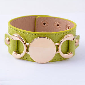 Rainbery Gold Leather Women's Cuff