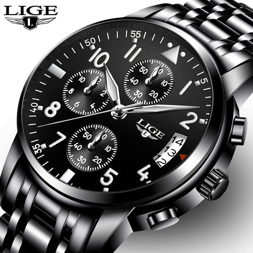 LIGE Men's Luxury Quartz  Waterproof Watches