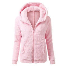 Solid Color Soft Fleece Winter/Autumn  Hooded Jacket
