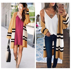 Loose Casual Striped Sweater Cardigan