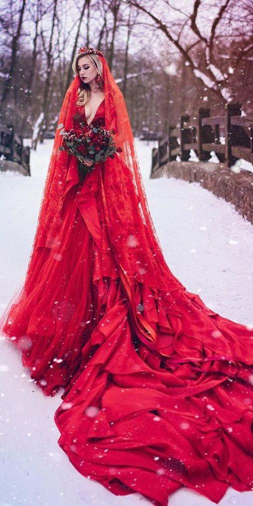 Elegant Red Gothic Wedding Dress