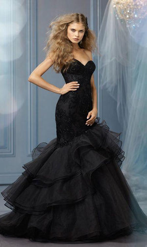 Applique and Tulle Gothic Mermaid Wedding Gown