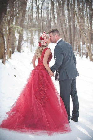 Red Lace and Tulle Corset Gown