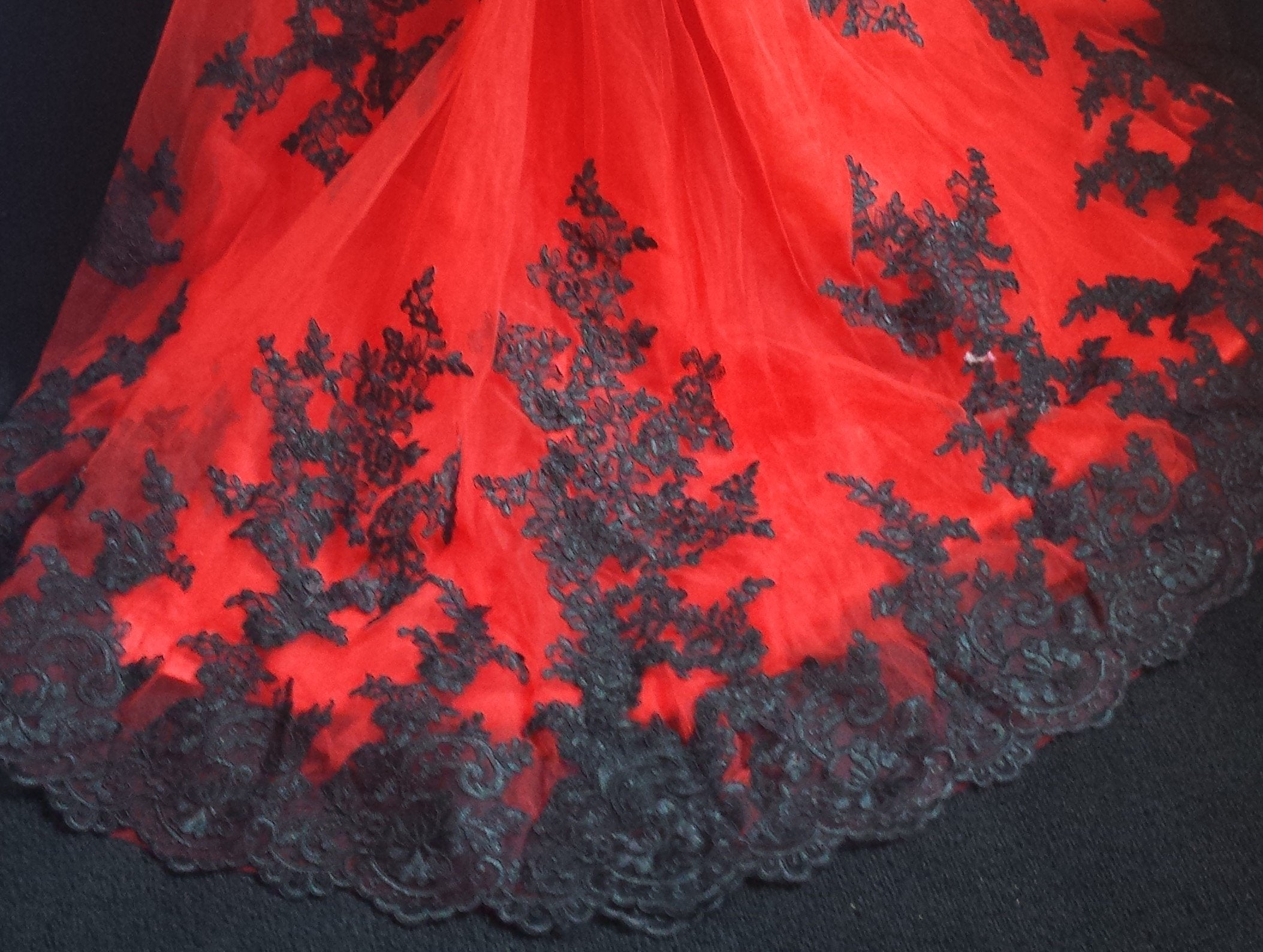 Black and Red Corset Applique Dress