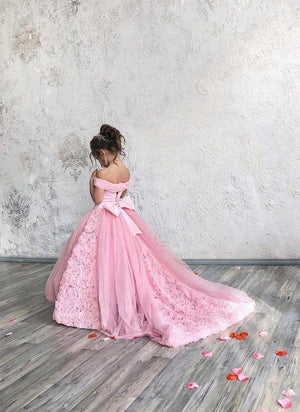 Elegant Pink  Flower Girls Dress