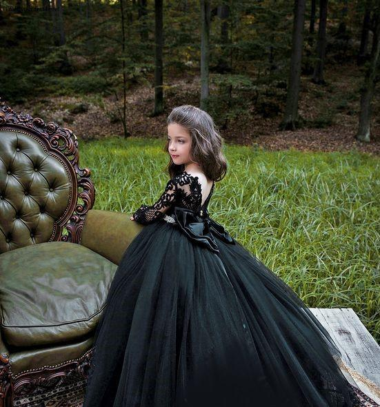 Black Victorian Flower Girls Dress