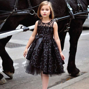Elegant Flower Girl Black Pageant Dress
