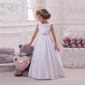 Simple White A Line Satin Flower Girl Dresses